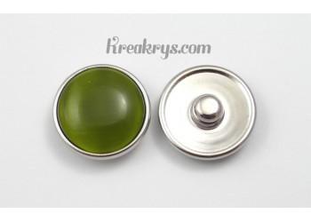 Bouton pression Oeil de chat vert