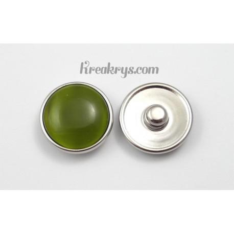 Bouton pression verre dit oeil de chat vert