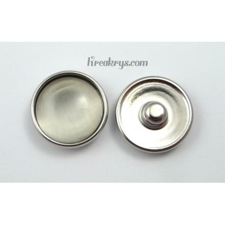 Bouton pression verre dit oeil de chat blanc gris