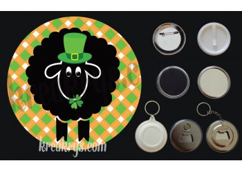 Badge Saint Patrick's mouton noir chapeau et trèfles fond jacquard orange
