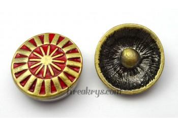 Bouton pression métal bronze Soleil rouge
