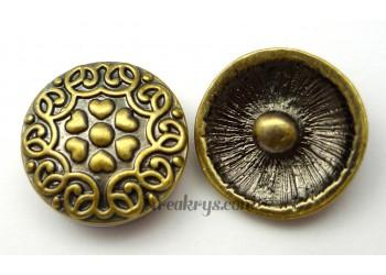Bouton pression métal bronze Fleur à coeurs
