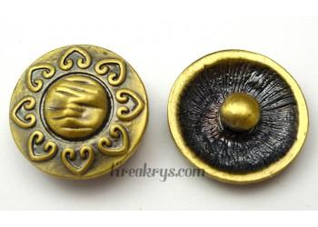 Bouton pression métal bronze Fleur soleil