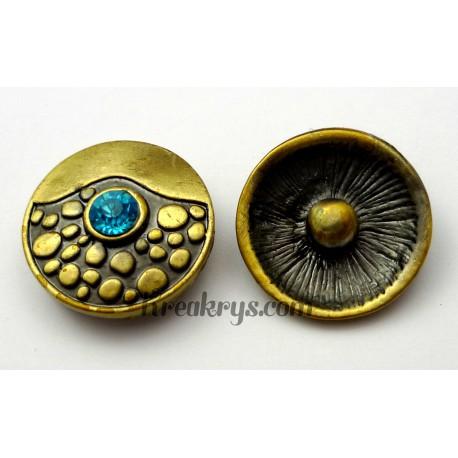 Bouton pression métal bronze Pas japonais avec strass turquoise
