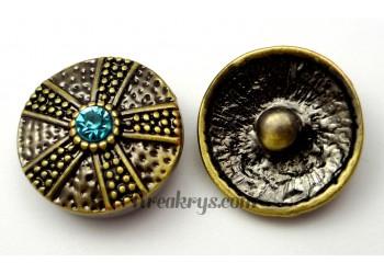 Bouton pression métal bronze Etoile avec strass turquoise