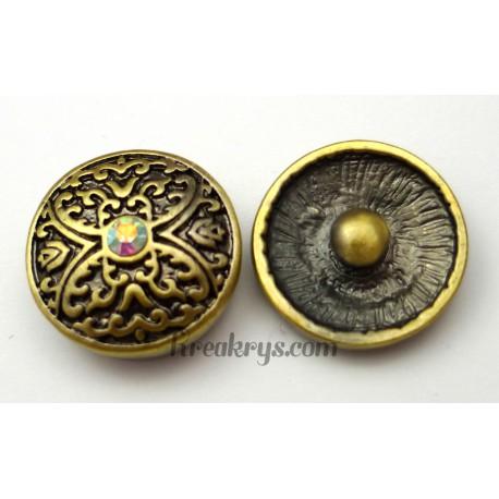 Bouton pression métal bronze Papillon avec strass blanc