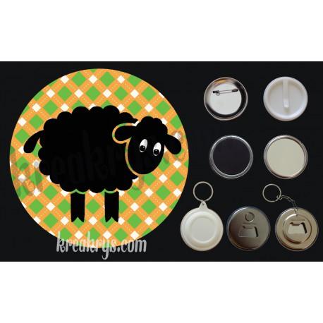 Badge Saint Patrick's mouton noir fond jacquard orange