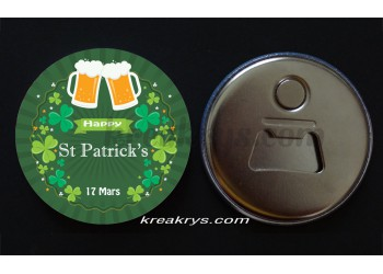 Badge 58 mm Décapsuleur aimanté saint patrick's