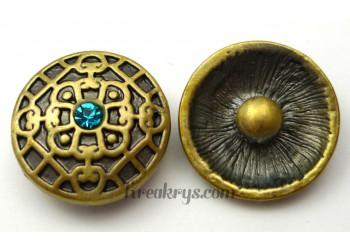 Bouton pression métal bronze Fleur avec strass turquoise
