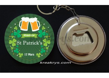 Badge 58 mm Porte Clé Décapsuleur Saint Patrick's