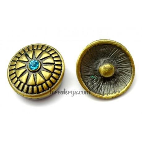 Bouton pression métal bronze Soleil avec strass turquoise