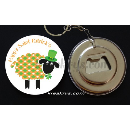 Badge 58 mm Porte Clé Décapsuleur happy saint patrick's mouton orange