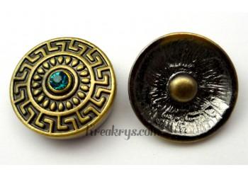 Bouton pression métal bronze aztèque avec strass turquoise