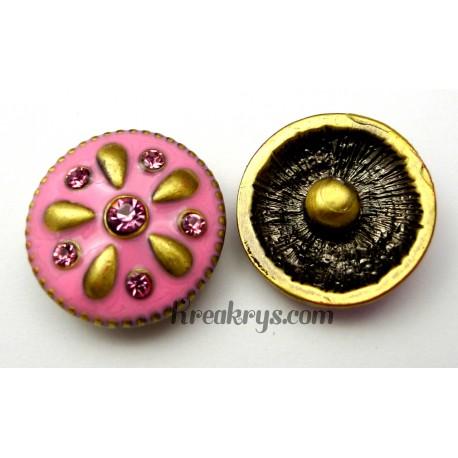 Bouton pression métal bronze Goutte d'eau rose avec strass roses
