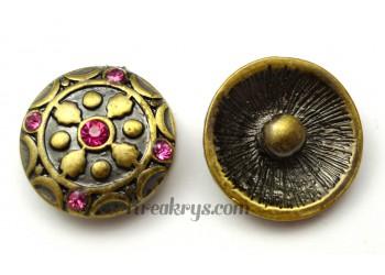 Bouton pression métal bronze Fleur avec strass roses