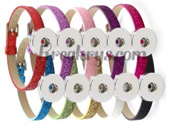 Bracelet slide pression simili cuir fin à paillette