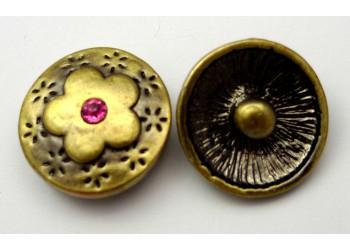 Bouton pression métal bronze Sakura avec strass rose