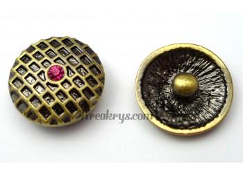 Bouton pression métal bronze Alvéole avec strass rose