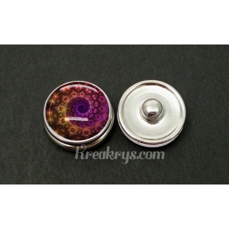 Bouton pression allégorie spirale violet marron