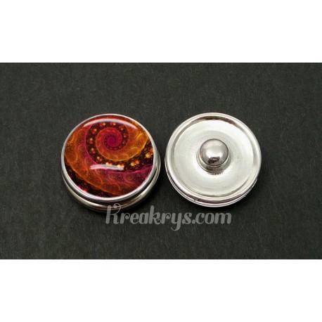 Bouton pression allégorie spirale rouge et orange