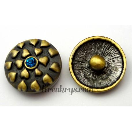 Bouton pression métal bronze Coeurs avec strass bleus