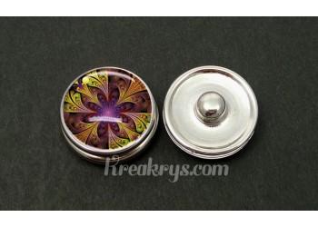 Bouton pression allégorie rosace violet jaune