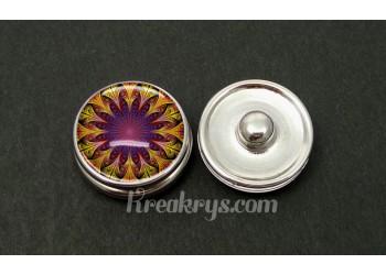 Bouton pression allégorie double rosace violet jaune