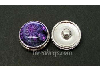 Bouton pression allégorie spirale bleu et violet