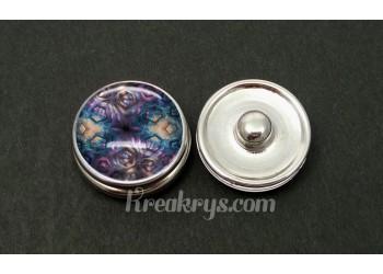 Bouton pression allégorie hexagone bleu et violet