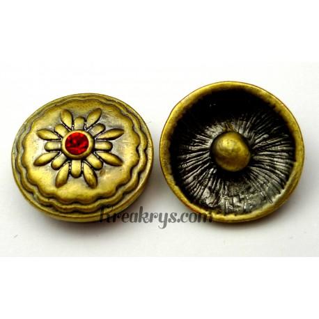 Bouton pression métal bronze Fleur avec strass rouge