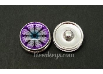 Bouton pression allégorie rosace violette