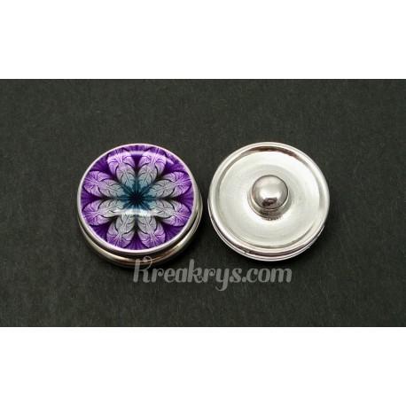 Bouton pression rosace violette