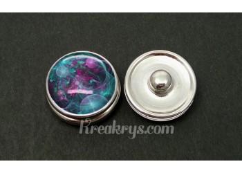 Bouton pression allégorie bulle turquoise et violette