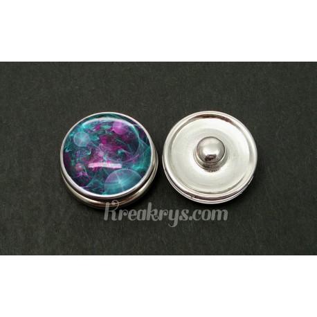Bouton pression bulle turquoise et violette