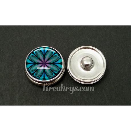 Bouton pression rosace bleu