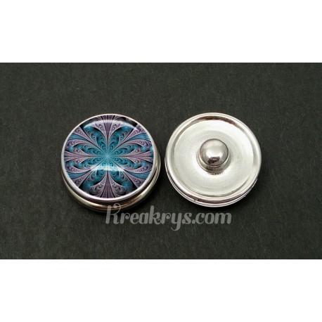 Bouton pression rosace bleu et violette