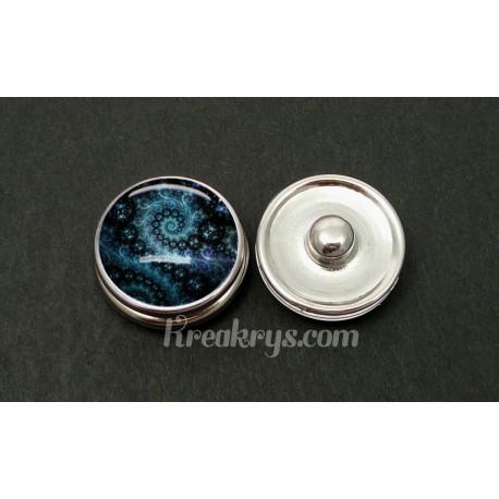 Bouton pression allégorie spirale bleu