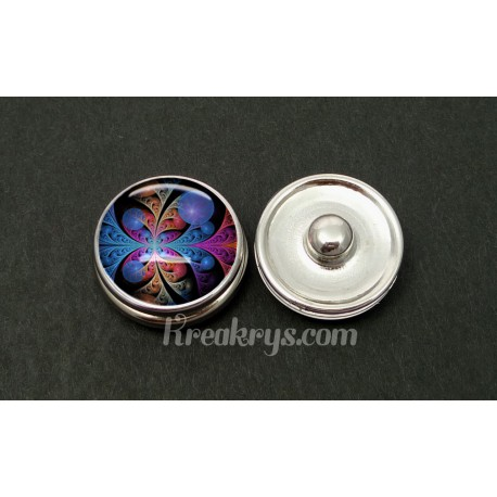 Bouton pression allégorie rosace multicolore et bulle