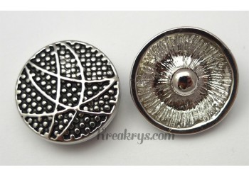 Bouton pression métal argenté Courbes et points