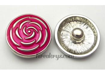 Bouton pression métal argenté Rose rose