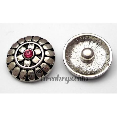 Bouton pression métal argenté Fleur avec strass rose