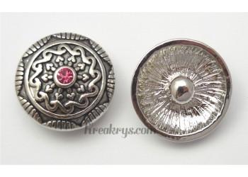 Bouton pression métal argenté Octogone avec strass rose