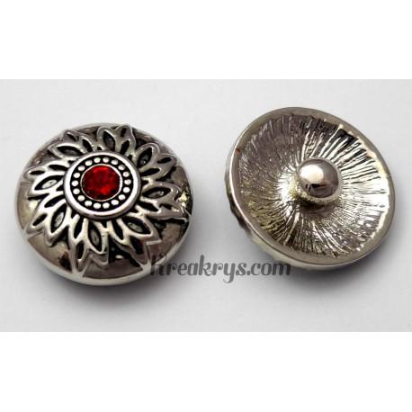 Bouton pression métal argenté Fleur avec strass rouge