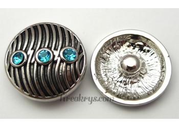 Bouton pression métal argenté Vague avec strass turquoise