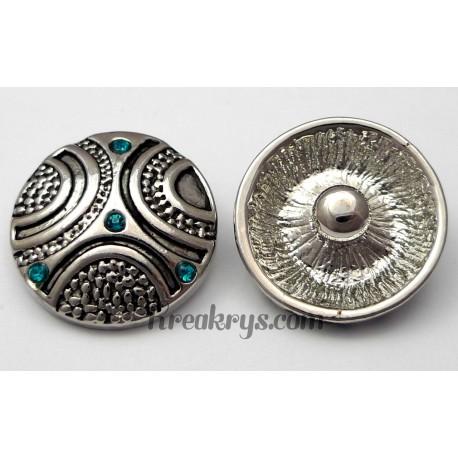 Bouton pression métal argenté Demi-cercle avec strass turquoise