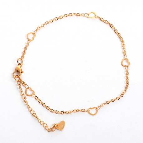 Bracelet de Cheville Acier Inoxydable coeur
