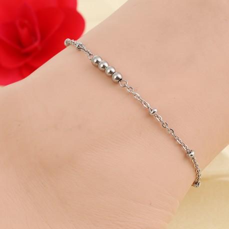 Bracelet de Cheville Acier Inoxydable connecteur perles d'acier
