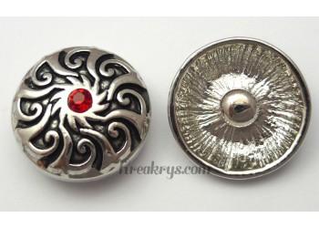Bouton pression métal argenté Soleil avec strass rouge