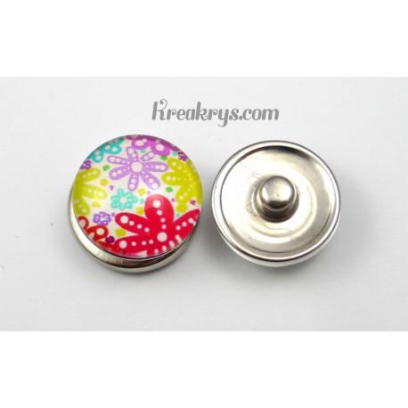 Bouton pression verre Fleurs multicolores