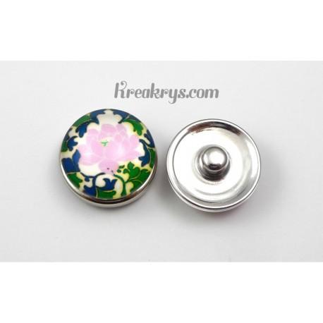 Bouton pression verre Fleur rose et verte